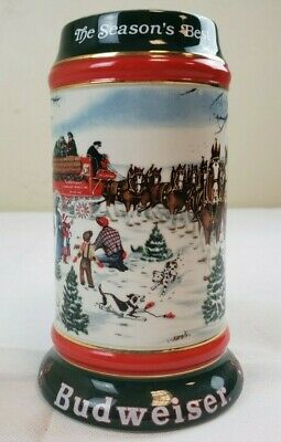 1991 Budweiser Bud Holiday Christmas Beer Stein Clydesdales The Seasons