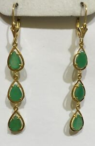 14k Solid Yellow Gold Dangle Leverback Earrings W/Natural Emerald Pear Cut2.82GM