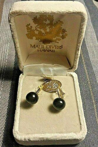 MAUI DIVERS rare black coral HAWAII EAR RINGS (srewbacks) w/orig box