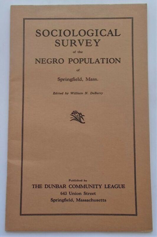 Sociological Survey Negro Population Springfield MA 1940 Pamphlet Afro-American