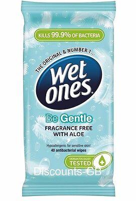 Wet Ones - Be Gentle - Sensitive Antibacterial 40 Wet Wipes - Adults Babies kids