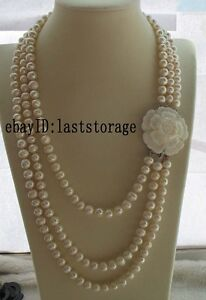 3rows white freshwater pearl 8-9mm necklace 22-27