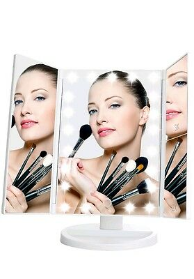 Leju Lighted Vanity Mirror  21 Super Bright Leds  Touch Screen Tri Fold Makeup
