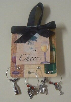 Ganz CHEERS Wine Charm Set of 4 NEW Grapes Bottle Glass Cork Screw Everyday Gift