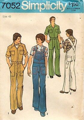 1970's VTG Simplicity Men's Jumpsuit and Overalls Pattern 7052 Size 40 UNCUT