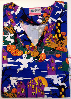 All Halloween (ALL HALLOWS EVE HALLOWEEN Printed Nurse Scrub Top M  MEDIUM Nursing)