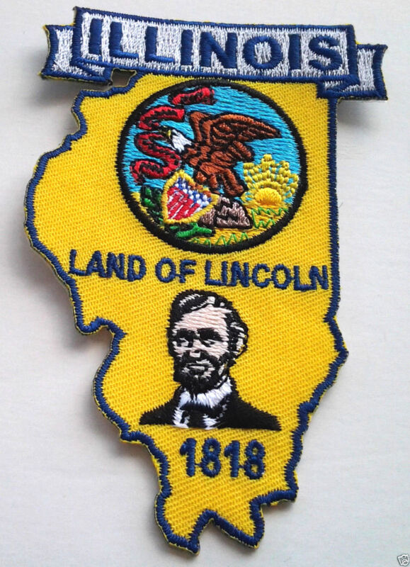 ILLINOIS STATE MAP Biker Patch PM6714 EE