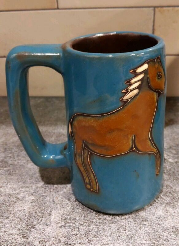 Mara Pottery of Mexico Horses Coffee Mug 4H Large Coffee Cup Art Pottery A++