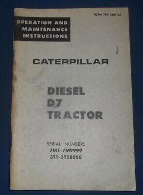 Cat Caterpillar D7 Tractor Dozer Operation Maintenance Manual Sn 7m 3t