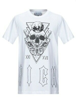 JOHN RICHMOND RICH  White Oversized Skull Printed Dibble T- Shirt.  Size: Large