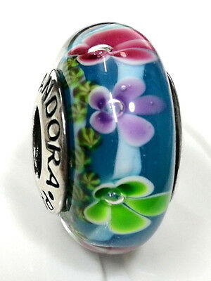 Authentic silver 925 Ale bead charm  murano glass  blue pink purple flower