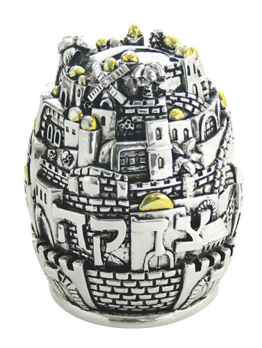 "3"" Diameter Polyresin 925 Silver Plated Tzedakah Box (Charity) Jerusalem Motifs"