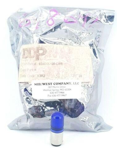 DDP, 6S6DCL130-CWB, Blue Pilot Light Bulb Replacement, 130VAC, Bag of 30 Bulbs