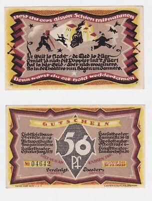 50 Pfennig Banknote Bremen vereinigte Theater Hagen & Sanders 1921 (121296)
