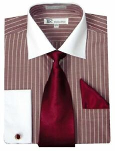 Men 39 s stylish striped dress shirt tie hanky french cuff for French cuff shirts cheap