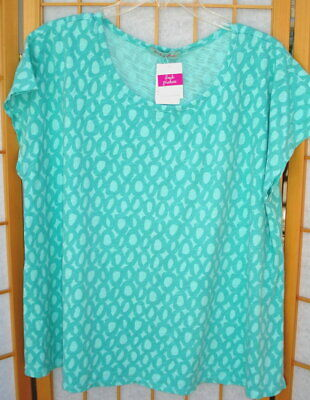 FRESH PRODUCE One Size green Palm OS Keepsake T light cotton slub Jackie O' NWT