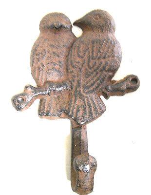 Cast Iron HUMMINGBIRD Towel Hanger Coat Hat Hook Key Rack Garden Bird Metal Hook