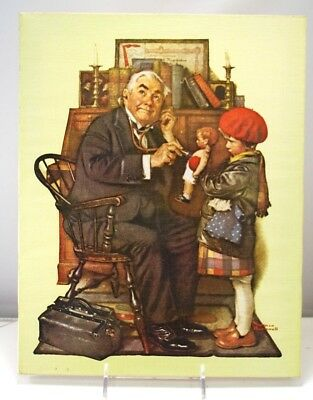 """Norman Rockwell 11x14 Canvas Over Frame Print, 1972 """"THE DOCTOR AND THE DOLL"""""""