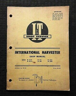 1969 International Harvester B-275 B-414 424 444 2424 2444 Tractor I T Manual