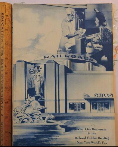 Rare 1939 New York Worlds Fair Childs Restaurant Railroad Exhibit Rest. MENU NYC