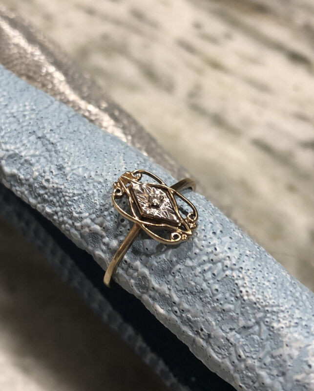 10K Gold Antique Early Victorian Wedding Diamond Ring Size 7 Filigree