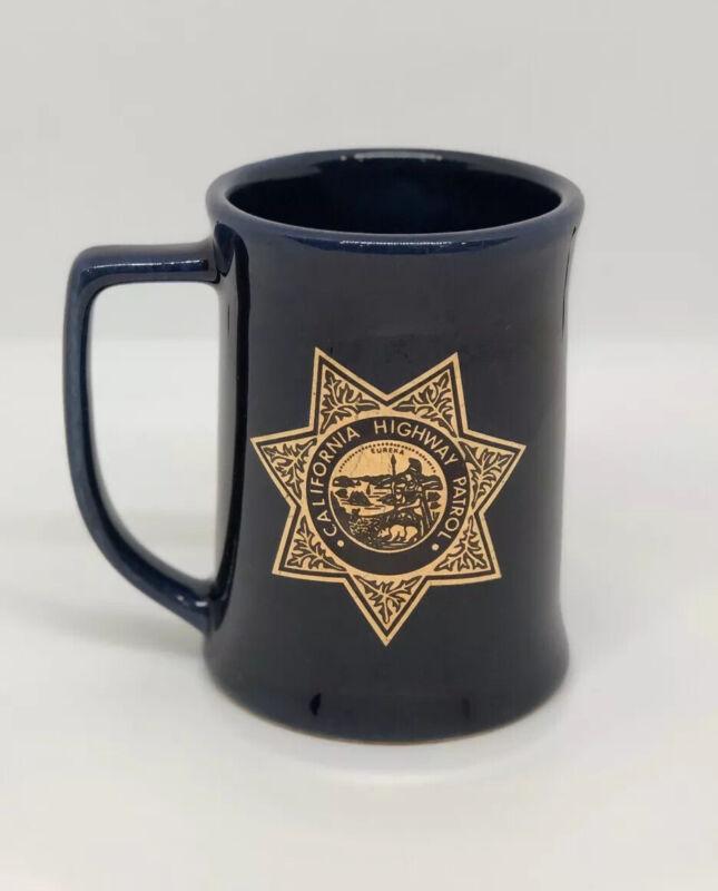 Vintage CHP California Highway Patrol Blue Coffee Tea Cup Mug Crestor Inc CA USA