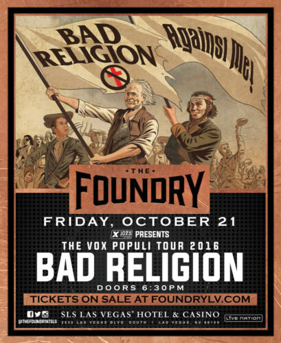 "BAD RELIGION / AGAINST ME! ""THE VOX POPULI TOUR 2016"" LAS VEGAS CONCERT POSTER"