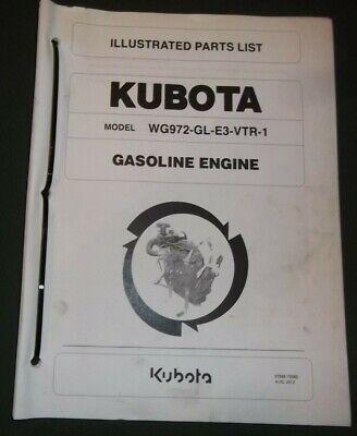 Kubota Wg972-gl-e3-vtr-1 Gasoline Engine Parts Manual Book Catalog