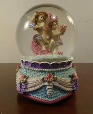 """Angels Cherubs Musical Snow Water Globe """"I'm Sitting on top of the World""""  for sale  Shipping to United Kingdom"""