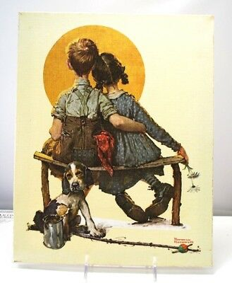 """Norman Rockwell 11x14 Canvas Over Frame Print, CPC 1972 """"THE LITTLE SPOONERS"""""""