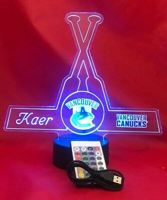 Vancouver Canucks NHL Hockey Light Up Lamp LED Personalized Table Lamp, Remote - Nhl Table Lamp