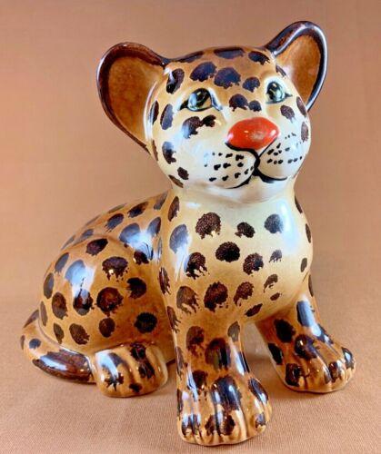 "Precious Handmade Ceramic 8"" Long Leopard Cub Figurine - Made in ITALY"