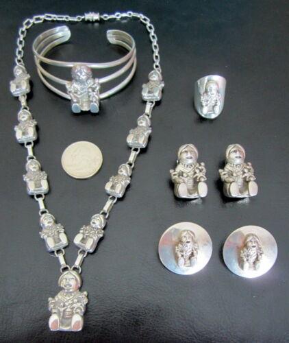 Carol Felley 3D Sterling Silver Storyteller Jewelry Set. Vintage, unique.