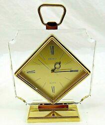 Seiko Quartz Alarm Clock Mantel Desk Table Gold Tone  Diamond Shape