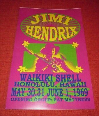"JIMI HENDRIX - WAIKIKI SHELL, HONOLULU HAWAII POSTER 1969 / 11"" x 17"""