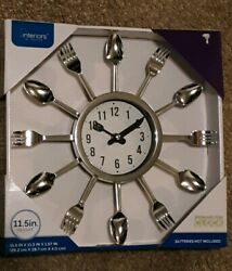 NEW SILVER Spoon/Fork Wall Clock ~Kitchen Decor