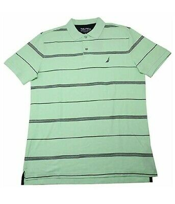 NWT Mens Nautica Stripped Ash Green Short Sleeve Polo Shirt Size XXL 2XL