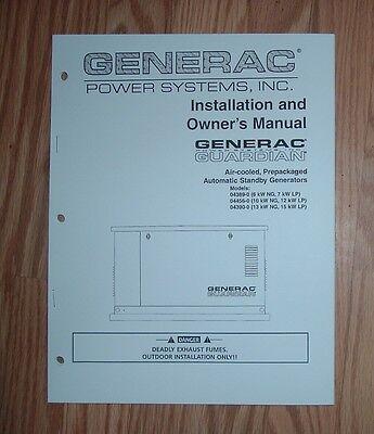 GENERAC 04389-0, 04456-0 & 04390-0 GUARDIAN STANDBY GENERATOR OWNERS MANUAL (Guardian Generator Manual)