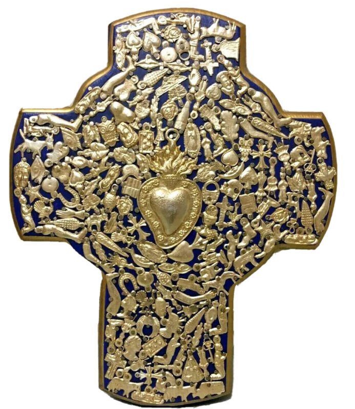 Mexican Milagros X Large Cross Folk Art Wall Blue Wood Heart Miracle Ex Voto