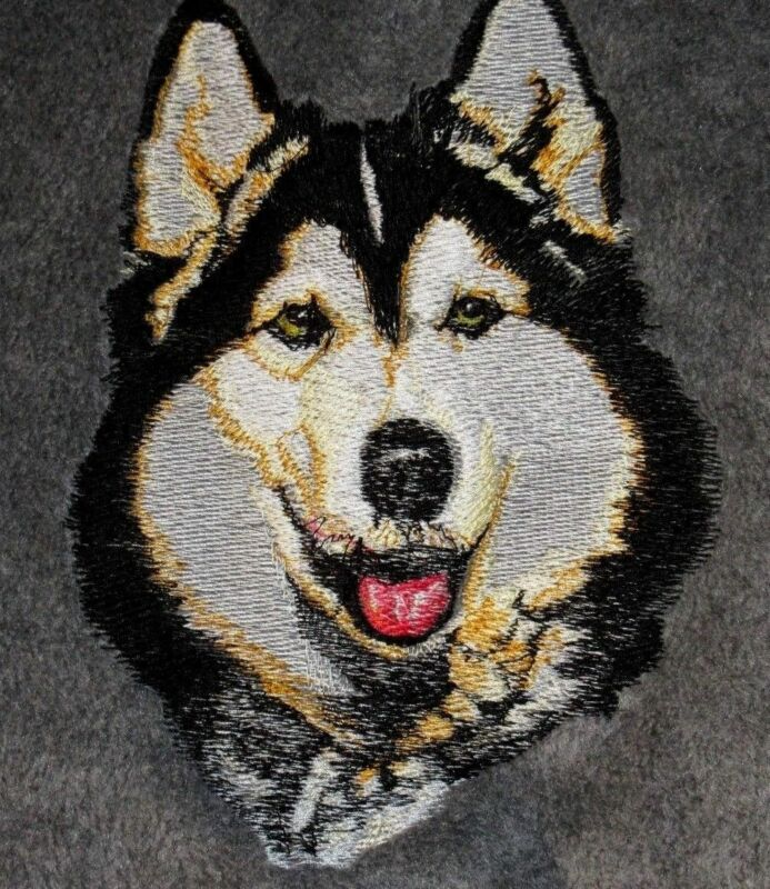 Embroidered Long-Sleeved T-Shirt - Siberian Husky BT2297  Sizes S - XXL