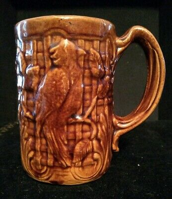 - Old Parrot Embossed Large Mug Brown Glaze Possibly One of a Kind! TRUELY UNIQUE!