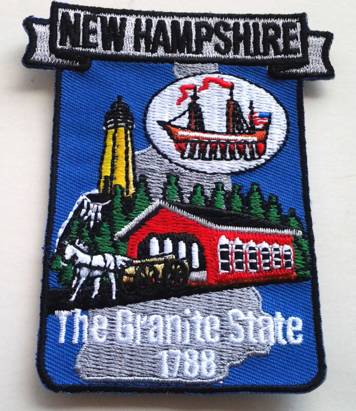 """NEW HAMPSHIRE STATE MAP (3-1/2"""") Biker Patch PM6730 EE"""
