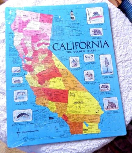 VINTAGE  CARTOON MAP  CALIFORNIA THE GOLDEN STATE JIGSAW PUZZLE 1990