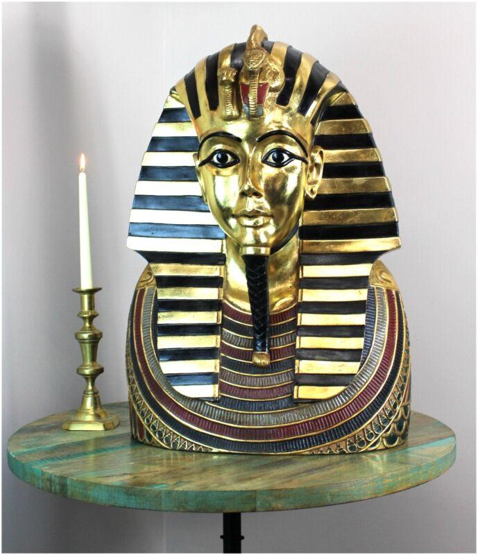 Life Size Tutankhamen Bust Silver & Gold - King Tut 2 Foot Wall Sculpture
