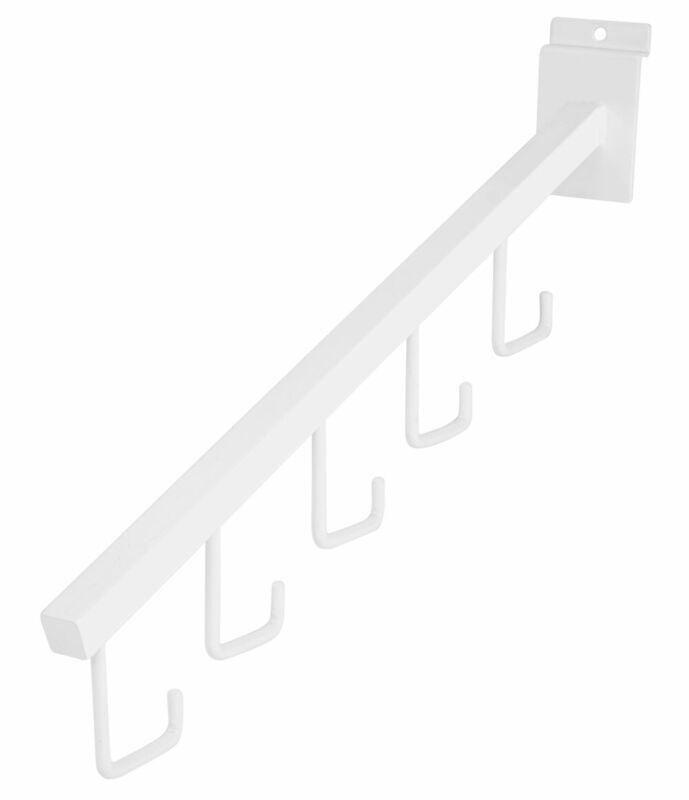 White 5-J-Hook Waterfall for Slatwall - Pack of 10