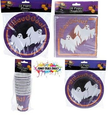 Halloween Party Tableware Kit - Plates, Napkins, Bowls & Cups with Ghost - Halloween Art Paper Plates