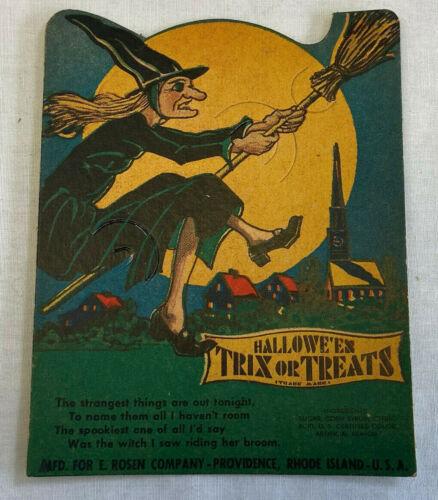 Vtg E. Rosen Co. Halloween Trix Or Treats Witch Lollipop Candy Paper Card