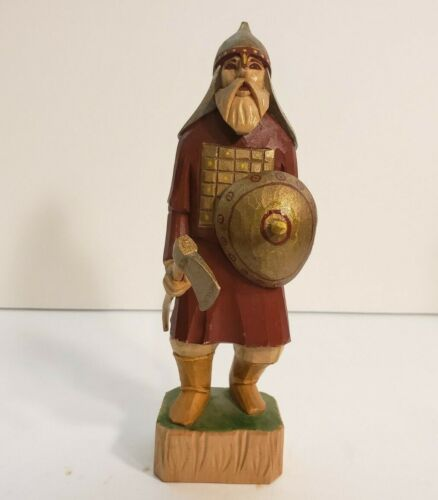 """Hand Carved Wood Viking With Shield and Axe 7"""" Figurine"""