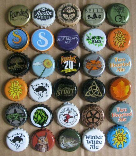 30 DIFFERENT MICHIGAN BREWS MICRO CRAFT BEER BOTTLE CAPS LOT #2
