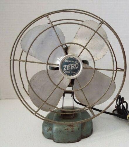 "Vintage ZERO 8"" Electric Table/Wall Fan Model 1250R Works Bersted Mfg. Co."